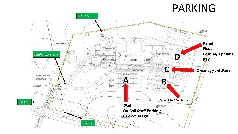 PARKING Helipad D Ambulance Site A C B Staff & Visitors Bega Staff On