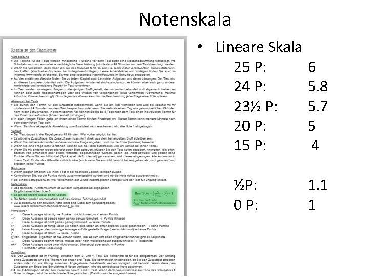 Notenskala • Lineare Skala 25 P: 6 24 P: 5. 8 23½ P: 5.