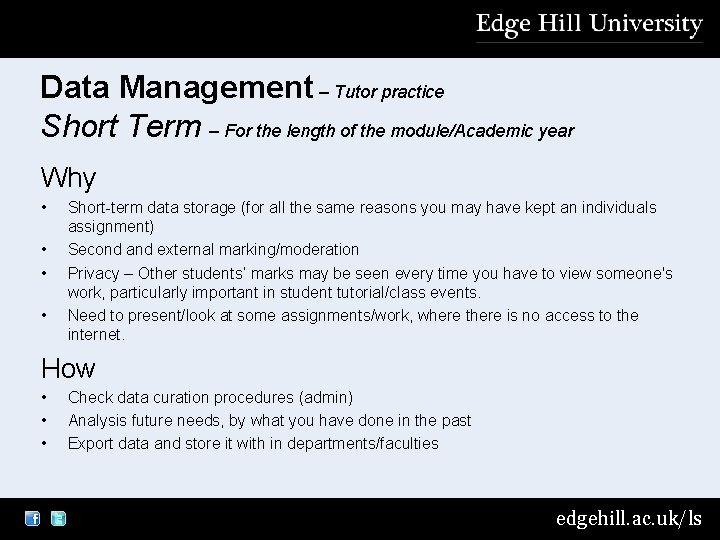 Data Management – Tutor practice Short Term – For the length of the module/Academic