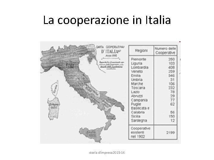 La cooperazione in Italia storia d'impresa 2015 -16