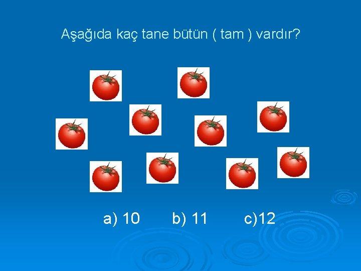 Aşağıda kaç tane bütün ( tam ) vardır? a) 10 b) 11 c)12