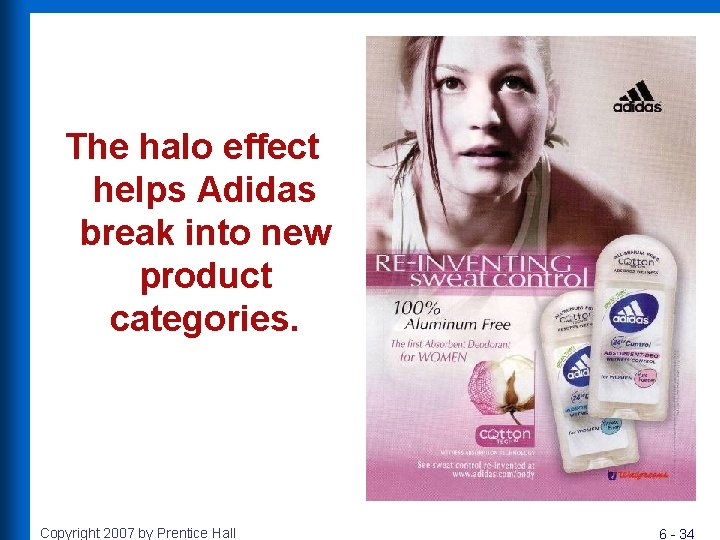The halo effect helps Adidas break into new product categories. Copyright 2007 by Prentice