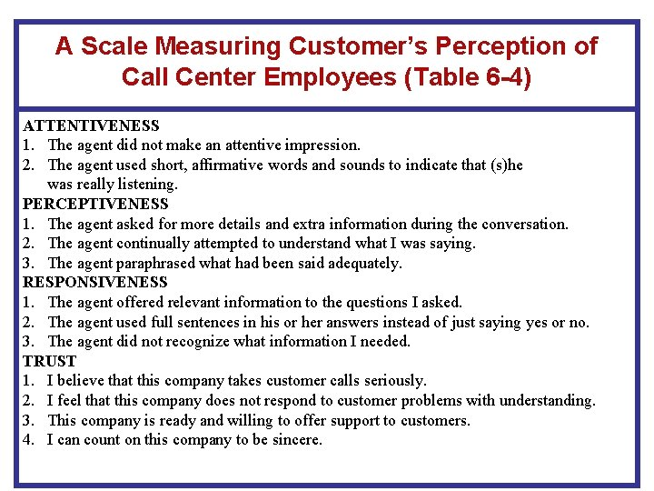 A Scale Measuring Customer's Perception of Call Center Employees (Table 6 -4) ATTENTIVENESS 1.
