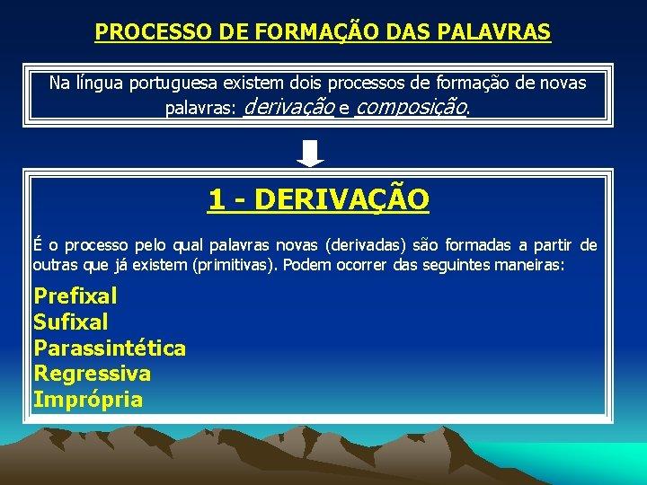 PROCESSO DE FORMAÇÃO DAS PALAVRAS Na língua portuguesa existem dois processos de formação de
