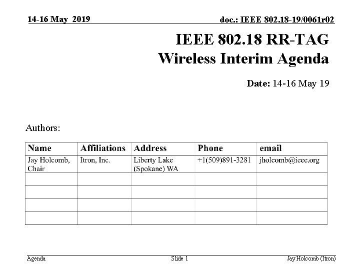 14 -16 May 2019 doc. : IEEE 802. 18 -19/0061 r 02 IEEE 802.