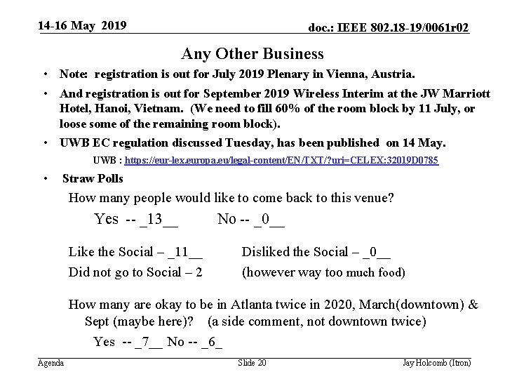 14 -16 May 2019 doc. : IEEE 802. 18 -19/0061 r 02 Any Other