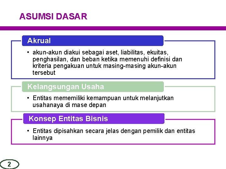 ASUMSI DASAR Akrual • akun-akun diakui sebagai aset, liabilitas, ekuitas, penghasilan, dan beban ketika