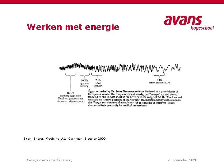 Werken met energie Bron: Energy Medicine, J. L. Oschman, Elsevier 2000 College complementaire zorg