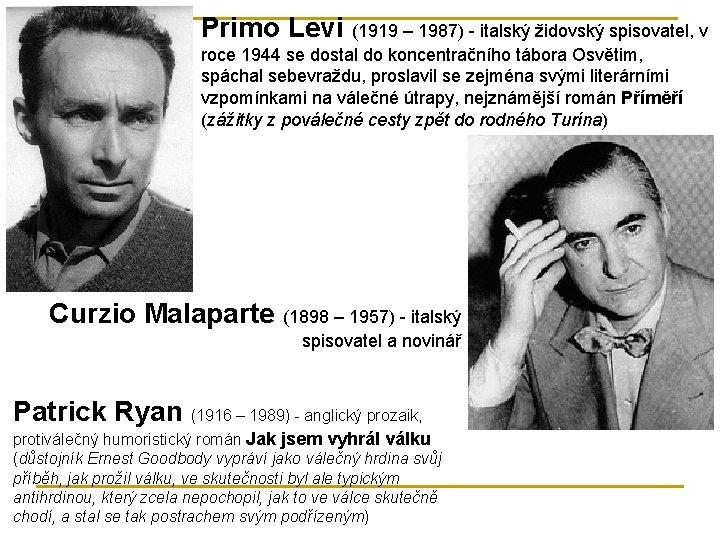 Primo Levi (1919 – 1987) - italský židovský spisovatel, v roce 1944 se dostal