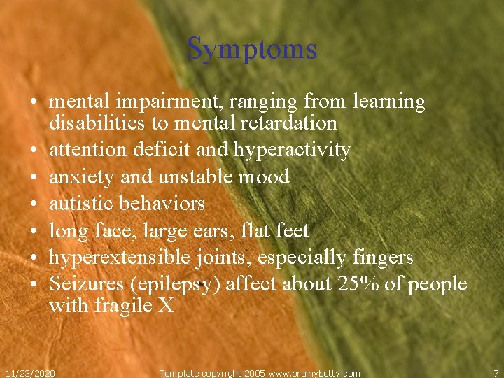 Symptoms mental retardation Mental Retardation