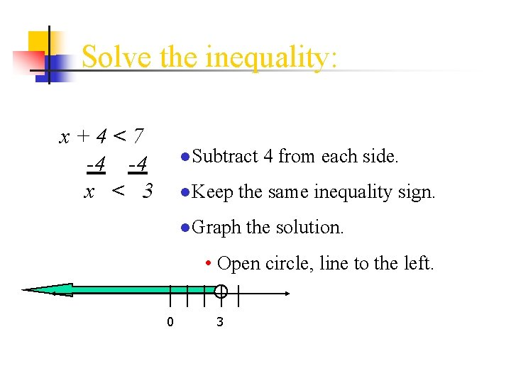 Solve the inequality: x+4<7 -4 -4 x < 3 ●Subtract 4 from each side.