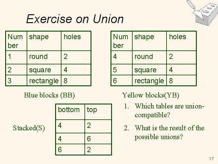 Exercise on Union Num shape ber 1 round 2 3 Num shape ber 4