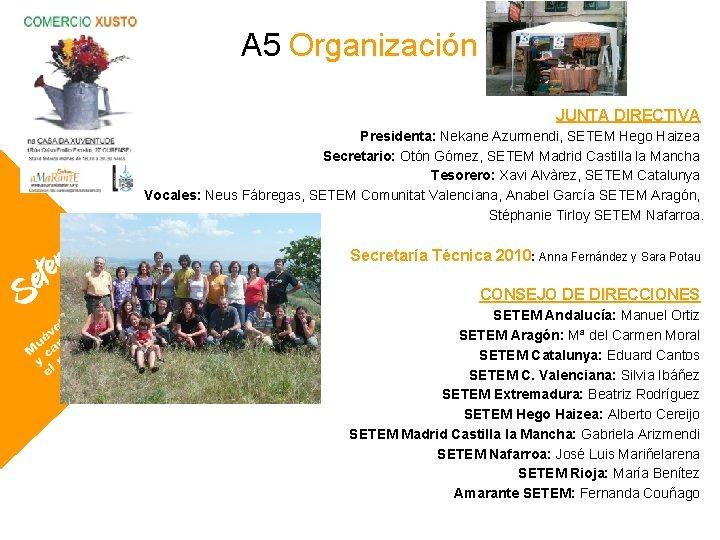 A 5 Organización JUNTA DIRECTIVA Presidenta: Nekane Azurmendi, SETEM Hego Haizea Secretario: Otón Gómez,