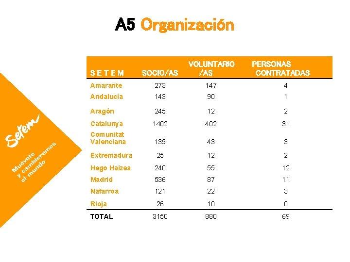A 5 Organización SETEM SOCIO/AS VOLUNTARIO /AS Amarante 273 147 4 Andalucía 143 90