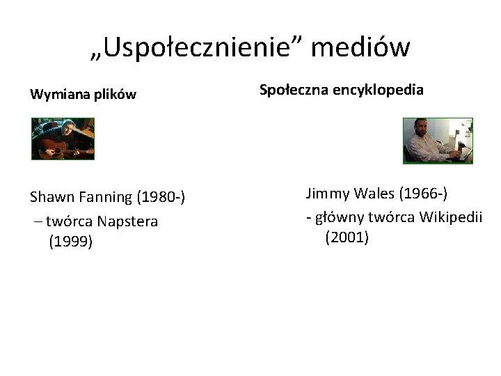 """""""Uspołecznienie"""" mediów Wymiana plików Shawn Fanning (1980 -) – twórca Napstera (1999) Społeczna encyklopedia"""