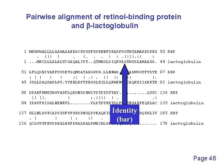 Pairwise alignment of retinol-binding protein and b-lactoglobulin 1 MKWVWALLLLAAWAAAERDCRVSSFRVKENFDKARFSGTWYAMAKKDPEG 50 RBP.      .  .