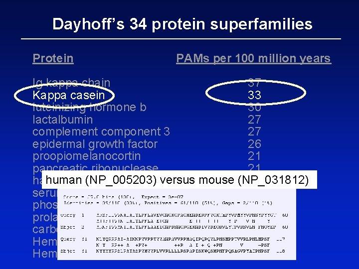 Dayhoff's 34 protein superfamilies Protein PAMs per 100 million years Ig kappa chain 37