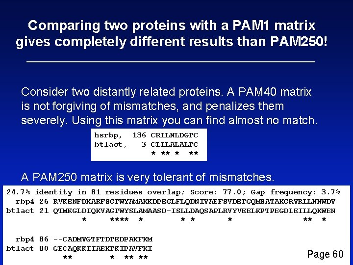 Comparing two proteins with a PAM 1 matrix gives completely different results than PAM