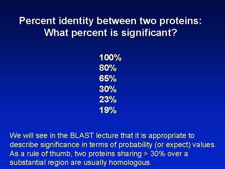 Percent identity between two proteins: What percent is significant? 100% 80% 65% 30% 23%