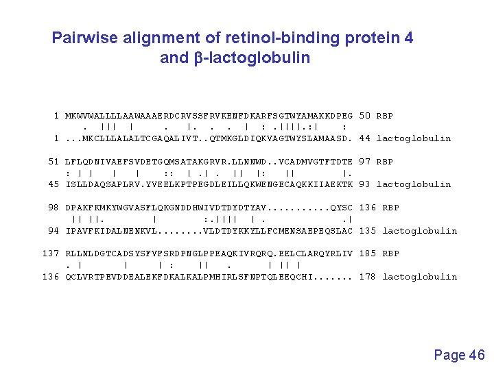 Pairwise alignment of retinol-binding protein 4 and b-lactoglobulin 1 MKWVWALLLLAAWAAAERDCRVSSFRVKENFDKARFSGTWYAMAKKDPEG 50 RBP.      .