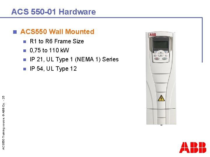 ACS 550 -01 Hardware ACS 550 Training course. © ABB Oy. - 25 n