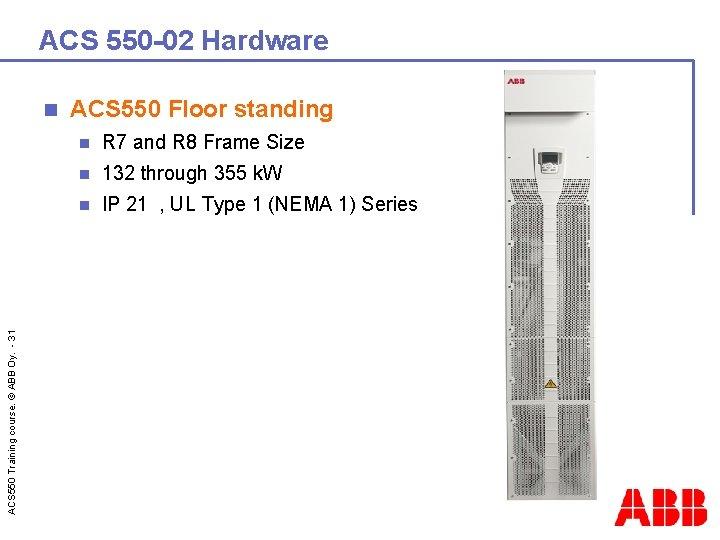 ACS 550 -02 Hardware ACS 550 Training course. © ABB Oy. - 31 n