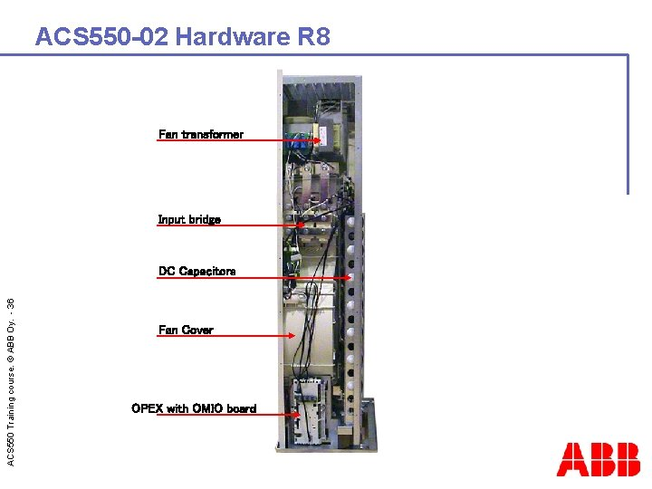 ACS 550 -02 Hardware R 8 Fan transformer Input bridge ACS 550 Training course.