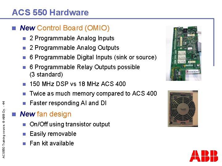 ACS 550 Hardware ACS 550 Training course. © ABB Oy. - 44 n n