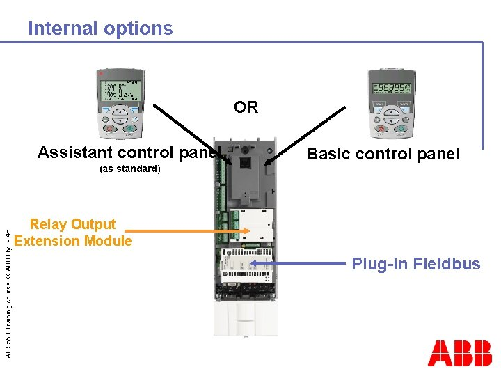 Internal options OR Assistant control panel ACS 550 Training course. © ABB Oy. -