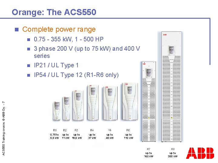Orange: The ACS 550 Training course. © ABB Oy. - 7 n Complete power