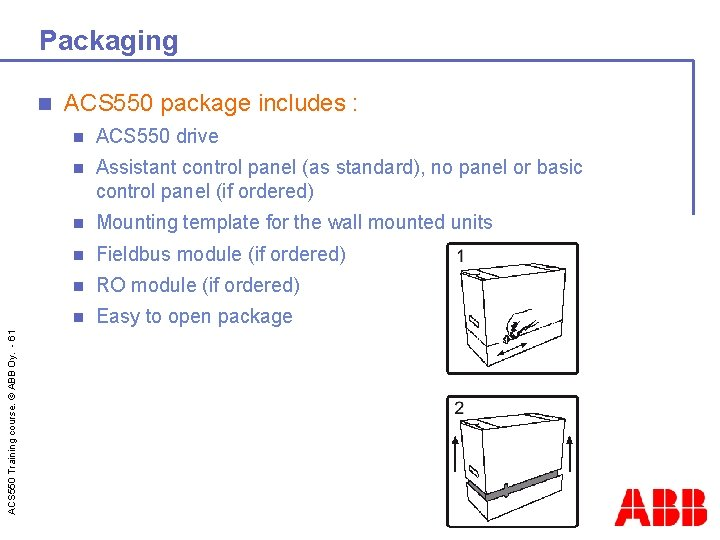 Packaging ACS 550 Training course. © ABB Oy. - 61 n ACS 550 package