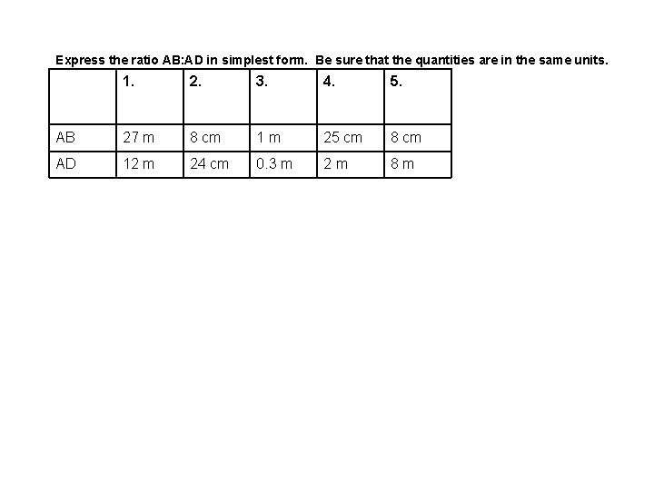 Express the ratio AB: AD in simplest form. Be sure that the quantities are