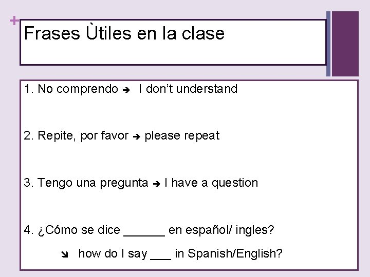 + Frases Ùtiles en la clase 1. No comprendo I don't understand 2. Repite,