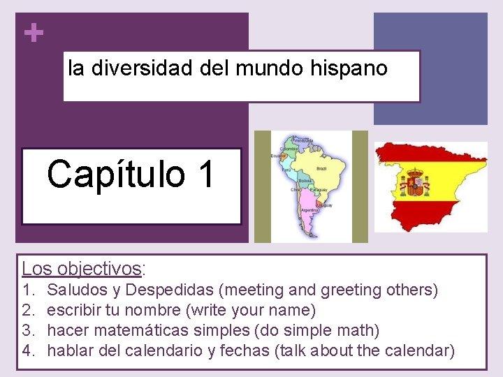 + la diversidad del mundo hispano Capítulo 1 Los objectivos: 1. 2. 3. 4.