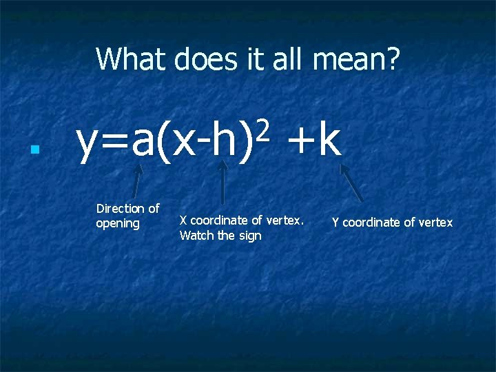 What does it all mean? n 2 y=a(x-h) Direction of opening +k X coordinate