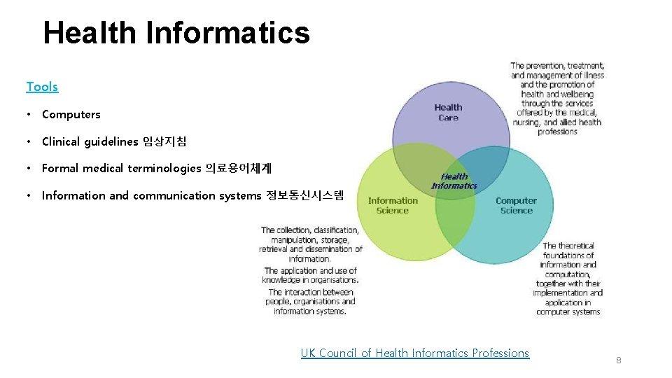 Health Informatics Tools • Computers • Clinical guidelines 임상지침 • Formal medical terminologies 의료용어체계