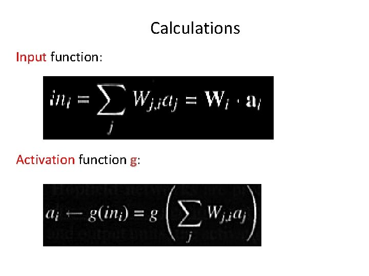 Calculations Input function: Activation function g: