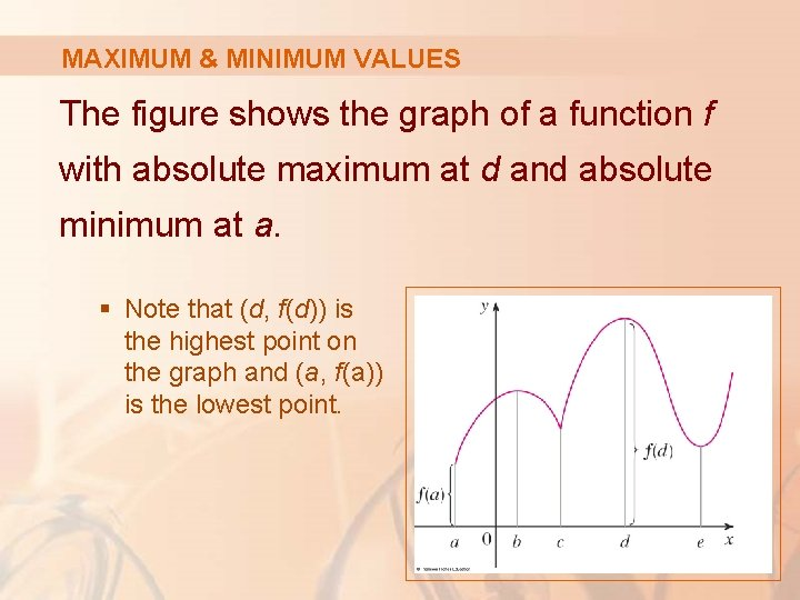 MAXIMUM & MINIMUM VALUES The figure shows the graph of a function f with