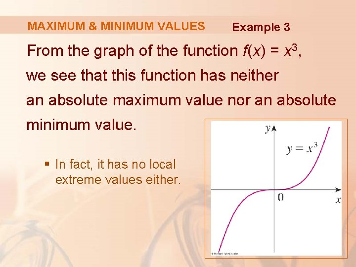 MAXIMUM & MINIMUM VALUES Example 3 From the graph of the function f(x) =