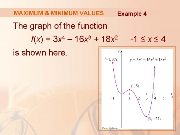 MAXIMUM & MINIMUM VALUES Example 4 The graph of the function f(x) = 3