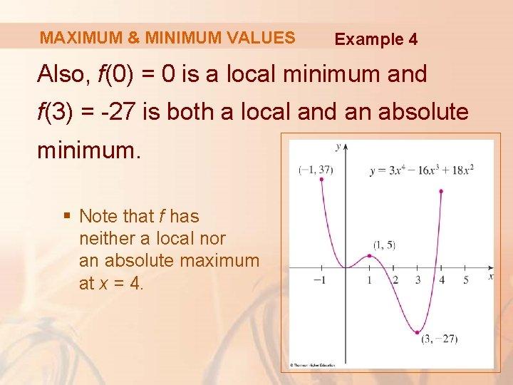 MAXIMUM & MINIMUM VALUES Example 4 Also, f(0) = 0 is a local minimum