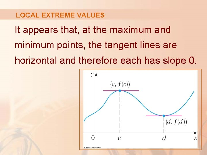 LOCAL EXTREME VALUES It appears that, at the maximum and minimum points, the tangent