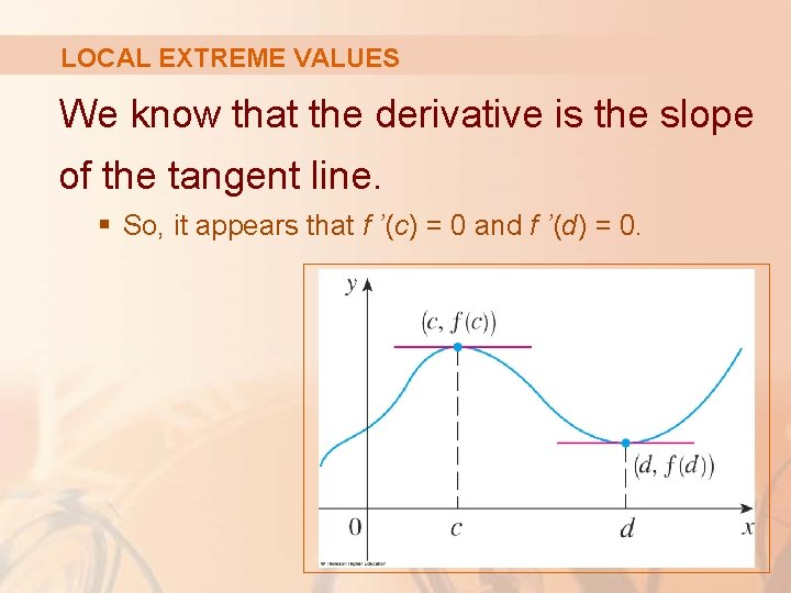 LOCAL EXTREME VALUES We know that the derivative is the slope of the tangent