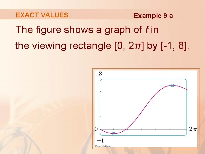 EXACT VALUES Example 9 a The figure shows a graph of f in the