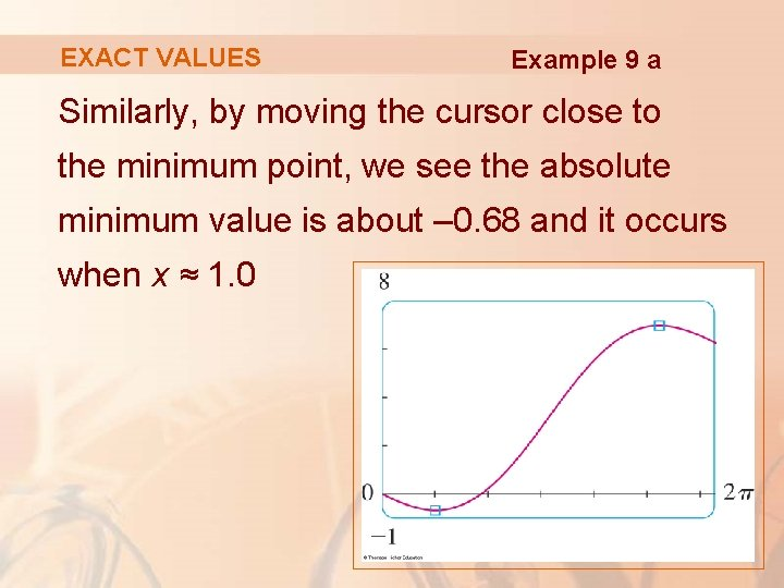EXACT VALUES Example 9 a Similarly, by moving the cursor close to the minimum