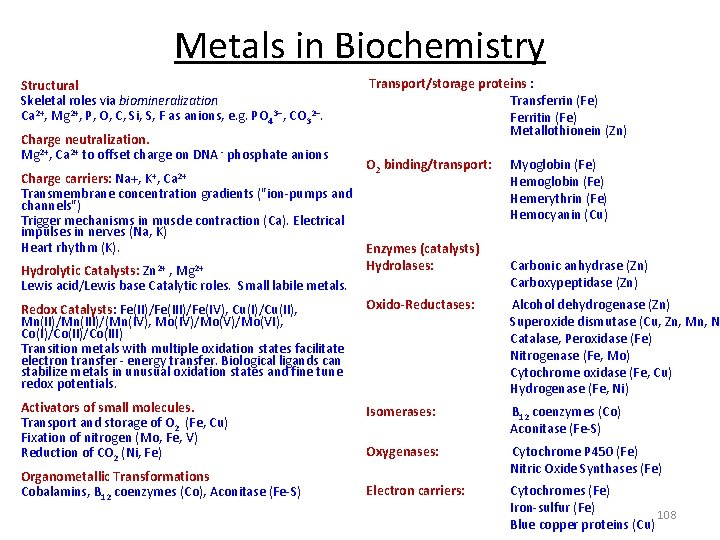 Metals in Biochemistry Structural Skeletal roles via biomineralization Ca 2+, Mg 2+, P, O,