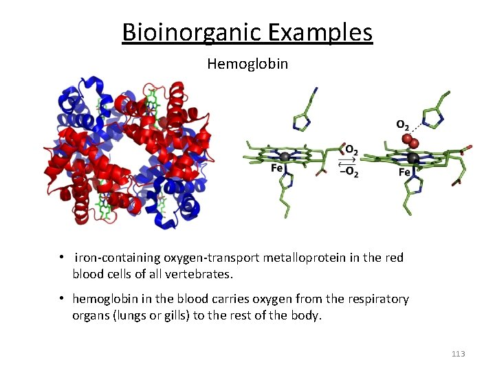 Bioinorganic Examples Hemoglobin • iron‐containing oxygen‐transport metalloprotein in the red blood cells of all