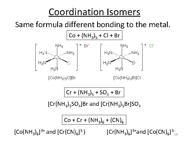 Coordination Isomers Same formula different bonding to the metal. Co + (NH 3)5 +