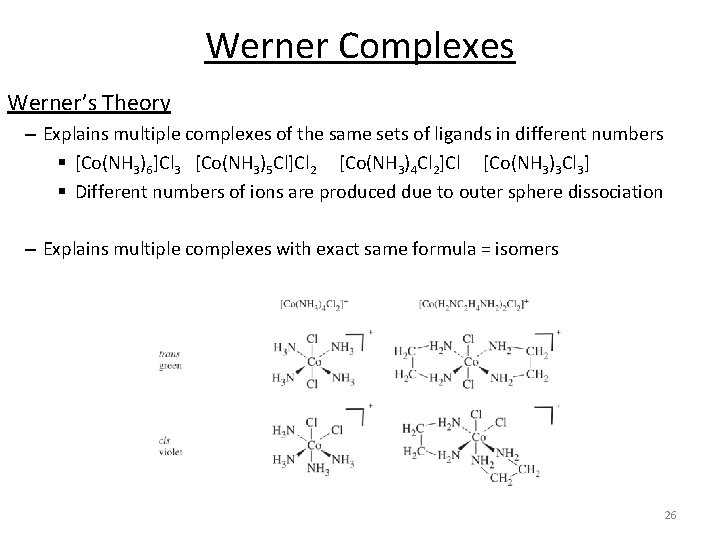 Werner Complexes Werner's Theory – Explains multiple complexes of the same sets of ligands