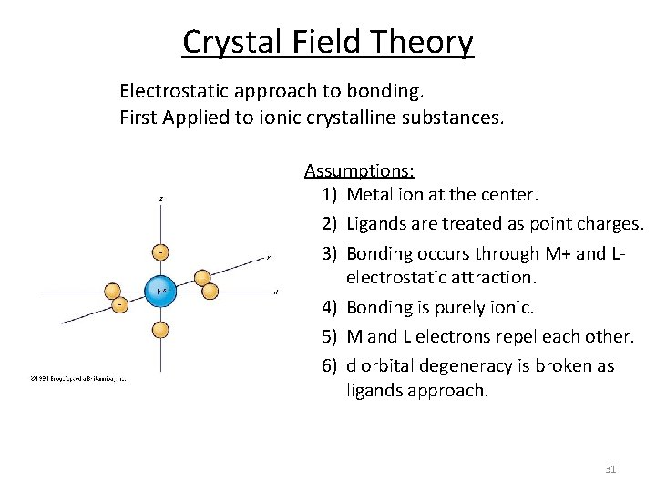 Crystal Field Theory Electrostatic approach to bonding. First Applied to ionic crystalline substances. Assumptions: